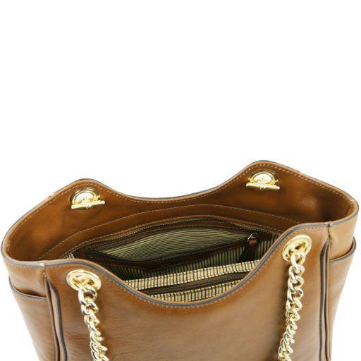 TL NeoClassic Borsa shopping con manici a catena e rifiniture in pelle Nero TL141267