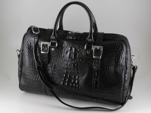 Berlin Maleta de viaje en piel imprimida cocodrilo - modelo pequeño Negro TL140751