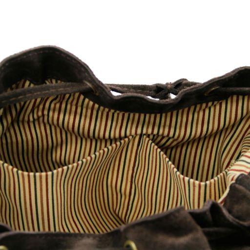TL Vintage Borsa a tracolla in pelle scamosciata con frange Testa di Moro TL141290