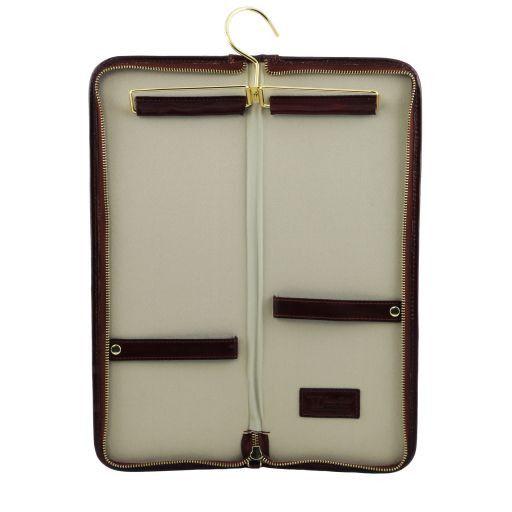 Elegante portacravatte da viaggio in pelle Marrone TL141291