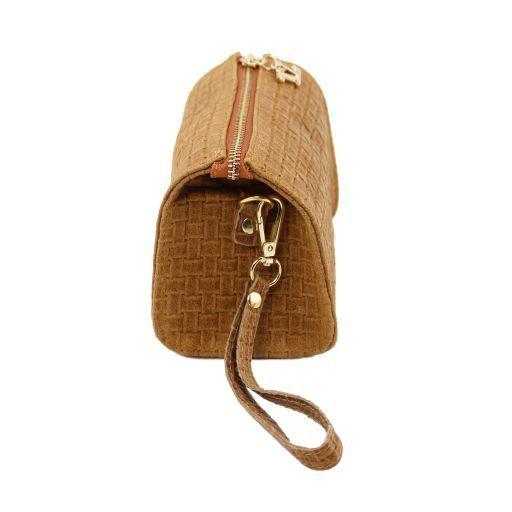 TL Bag Pochette in pelle stampa intrecciata e tracolla a catena Giallo TL141312