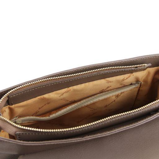 TL Bag Borsa a mano in pelle Saffiano e tracolla staccabile Rosso TL141318