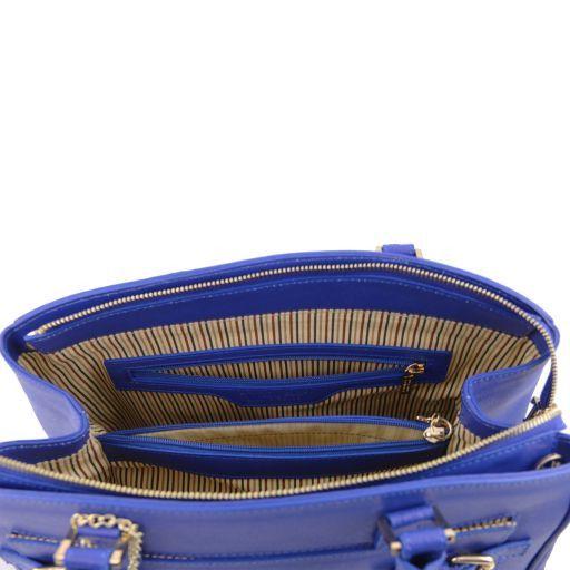 TL KeyLuck Borsa a mano con tasca frontale in pelle Saffiano Talpa chiaro TL141323