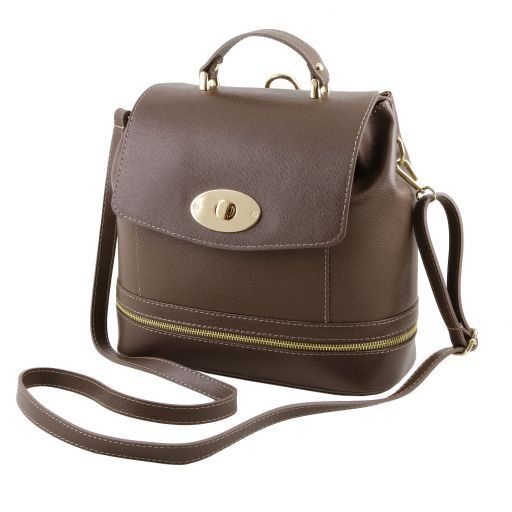 TL KEYLUCK Saffiano leather convertible bag Светлый серо-коричневый TL141360
