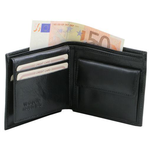 Эксклюзивный кожаный бумажник тройного сложения для мужчин Черный TL141377
