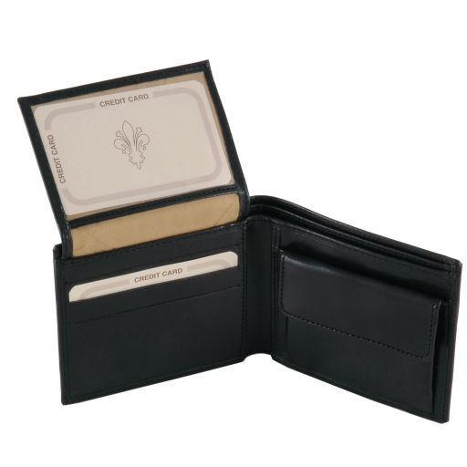 Elegante cartera de señor en piel con monedero Negro TL141377