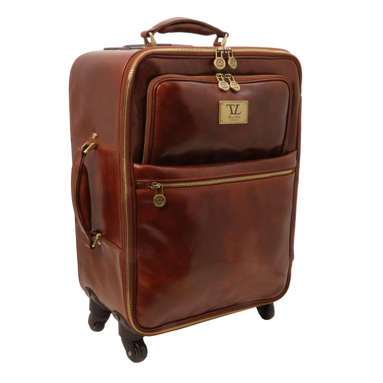 Tuscany Leather - TL Voyager - Valise verticale en cuir avec deux roulettes - Marron Tvg6L2Nulb