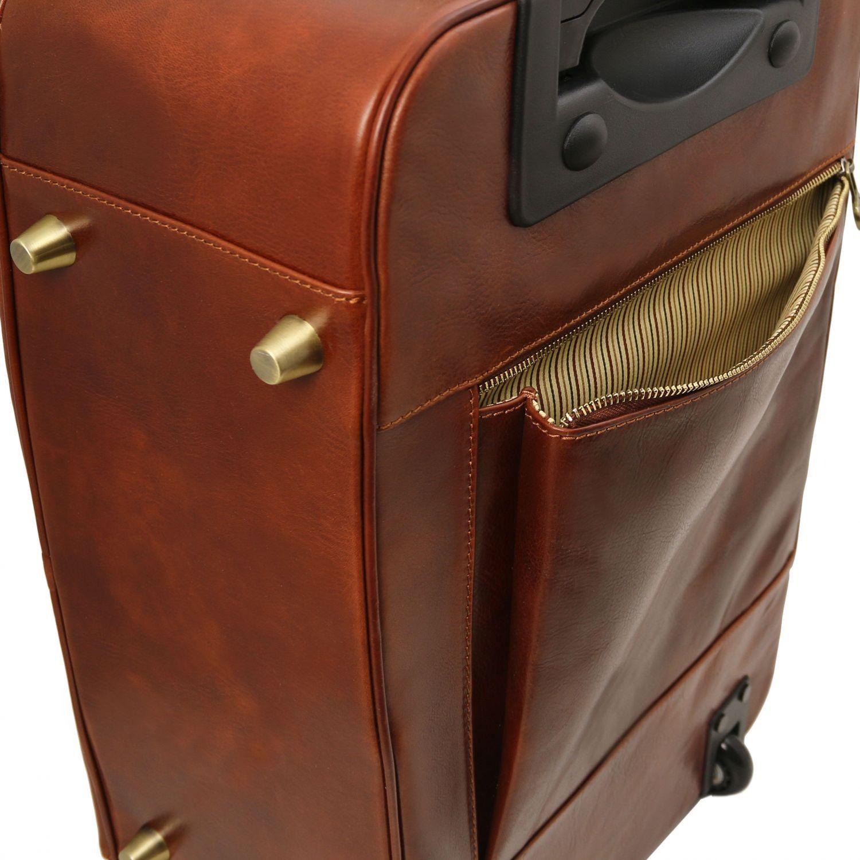 Tuscany Leather TL Voyager Valise verticale en cuir avec deux roulettes Marron foncé My3IUD