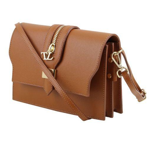 TL Bag Saffiano leather clutch with detachable strap Blue TL141398