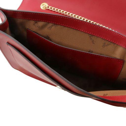 Iride Pochette in pelle con tracolla a catena Nero TL141417