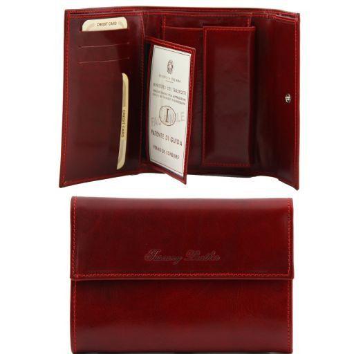 Esclusivo portafogli in pelle da donna 3 ante Rosso TL140781