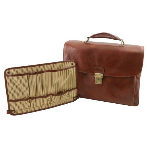 Alessandria Cartable porte ordinateur TL SMART multi compartiments en cuir Marron TL141448