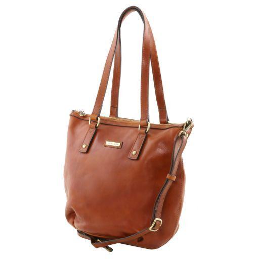 Olga Leather shopping bag - Large size Черный TL141484