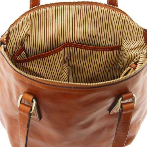 Olga Borsa shopping in pelle - Misura Grande Marrone TL141484