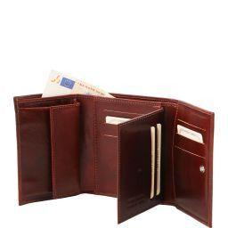 Exklusive Damenbrieftasche aus Leder mit Ausweisfach Schwarz TL140790