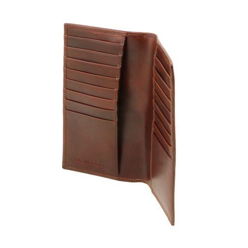 Esclusivo portafoglio/portacarte di credito verticale in pelle Nero TL141495