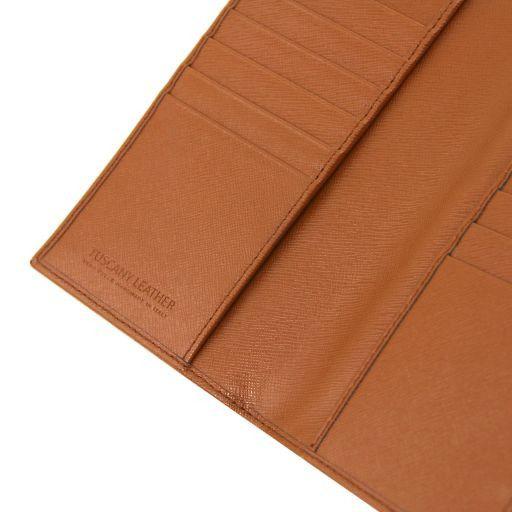 Esclusivo portafoglio/portacarte di credito verticale in pelle Saffiano Cognac TL141496