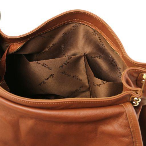 Venere Borsa a tracolla in pelle con pattella intrecciata Nero TL141523