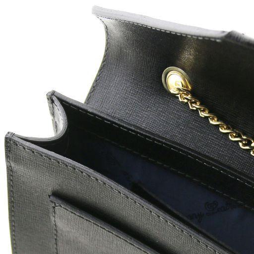 Iride Pochette in pelle Saffiano con tracolla a catena Talpa scuro TL141565