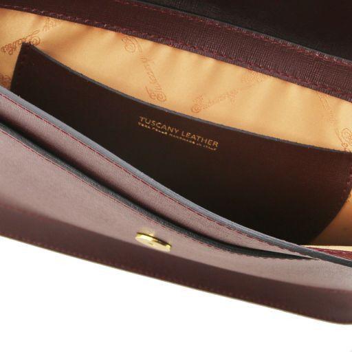 Iride Pochette in pelle Saffiano con tracolla a catena Bordeaux TL141565