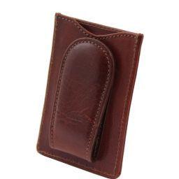 Elégant porte cartes de credit en cuir Marron TL140806