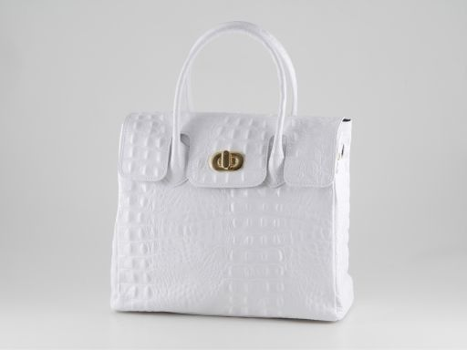 Erika Lady bag in croco look leather - Small size Белый TL140846