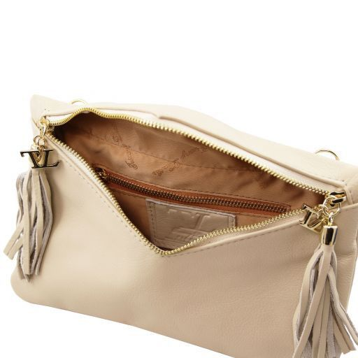 Audrey Leather clutch Beige TL140988