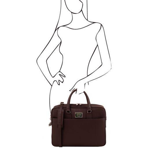 Urbino Cartella porta computer in pelle Saffiano con tasca frontale Testa di Moro TL141627