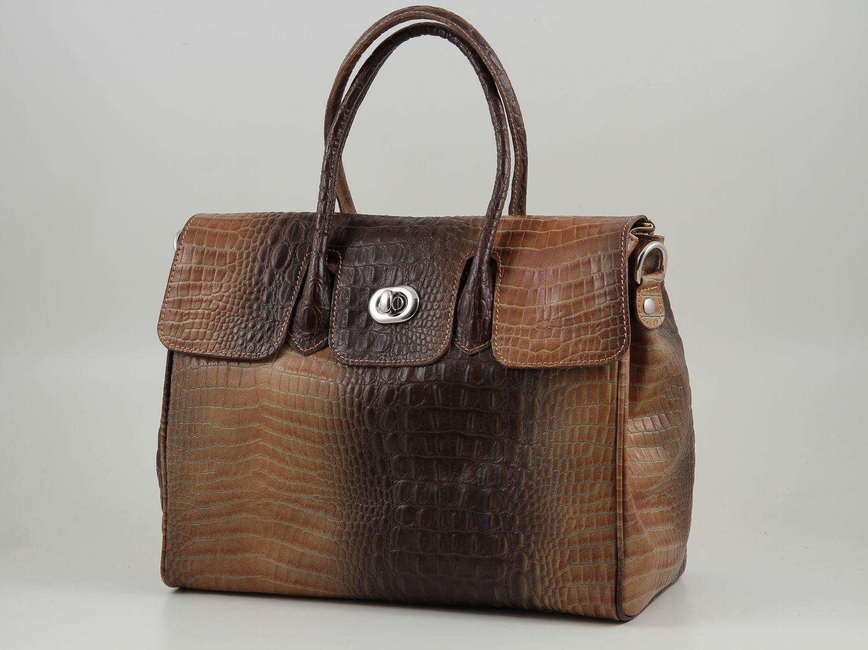b30bd61733f62 Erika Damenhandtasche aus Leder mit Krokoprägung Gross Cognac TL140920