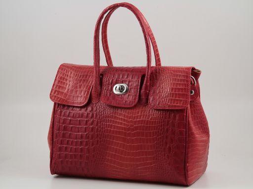 Erika Borsa in pelle stampa cocco da donna - Misura grande Rosso TL140920