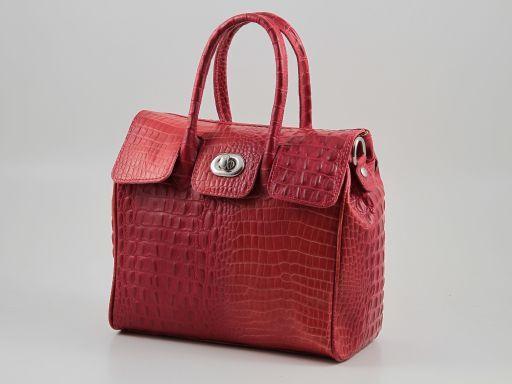 Erika Sac à main pour femme en cuir imprimé croco - Petit modèle Rouge TL140921