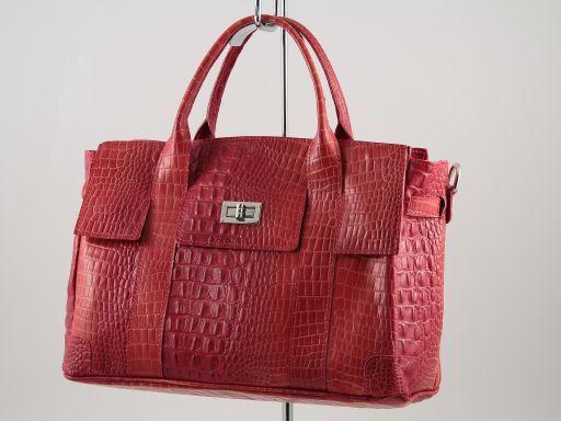 Eva Borsa a mano in pelle stampa cocco - Misura piccola Rosso TL140924