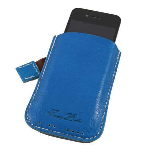 Esclusivo porta iPhone3 iPhone4/4s in pelle Azzurro TL140927