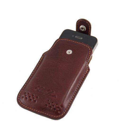 Esclusivo porta iPhone3 iPhone4/4s in pelle Marrone TL140983