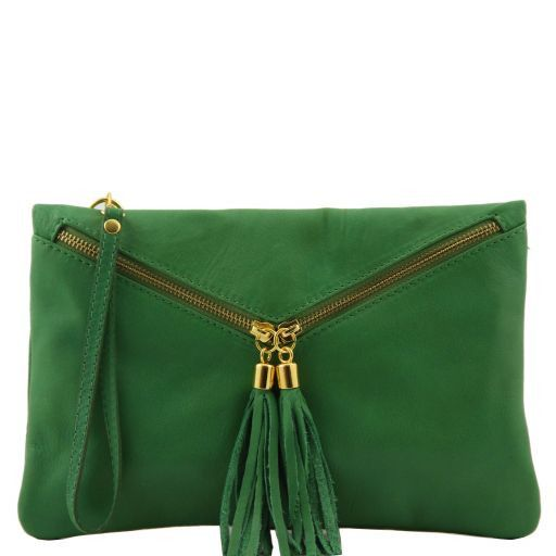Audrey Leather clutch Green TL140988