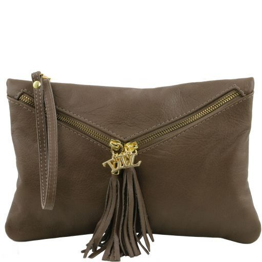 Audrey Leather clutch Dark Taupe TL140988