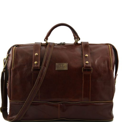 Bruxelles Expandable travel leather bag Brown TL1083