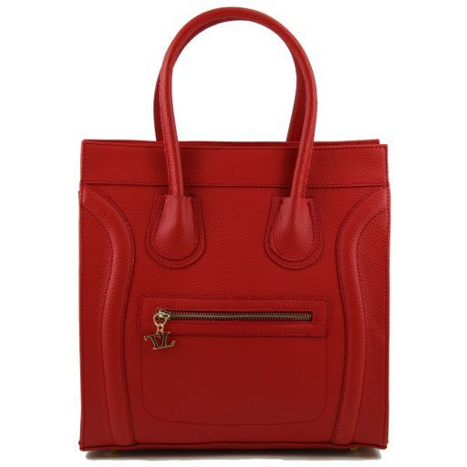 TL Bag Textured leather handbag Red TL141090