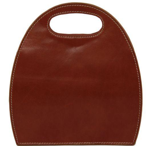 Carmen Leather handbag with oval cut-out handle Honey TL6088