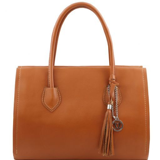 TL Bag Bolso en piel suave con borla y bandolera Cognac TL141091