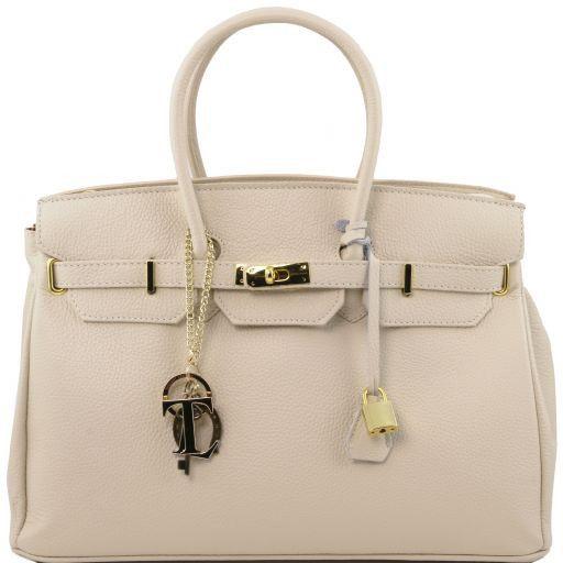 TL KeyLuck Handtasche aus Leder mit goldfarbenen Beschäge Beige TL141092