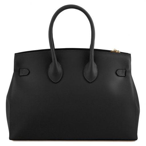 Elettra Handtasche aus Leder mit goldfarbenen Beschläge Schwarz TL141548