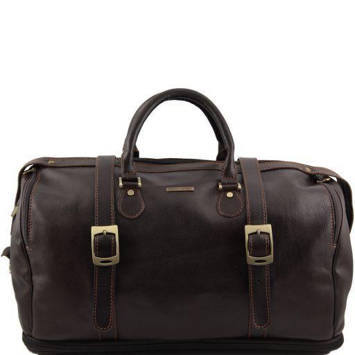 TL Travel Reisetasche aus Leder mit Reißverschluss am Boden Dunkelbraun TL151105