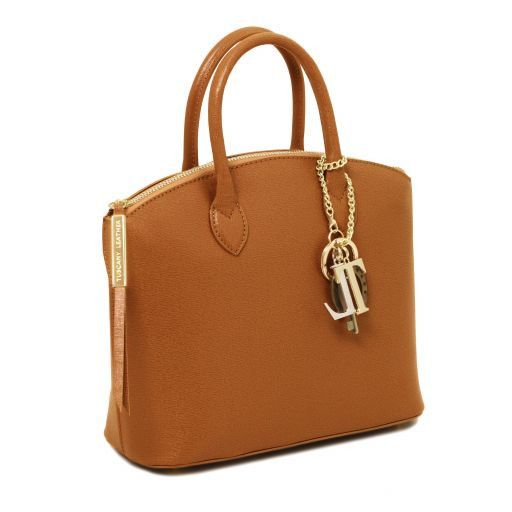 TL KeyLuck Saffiano leather tote - Small size Cognac TL141265