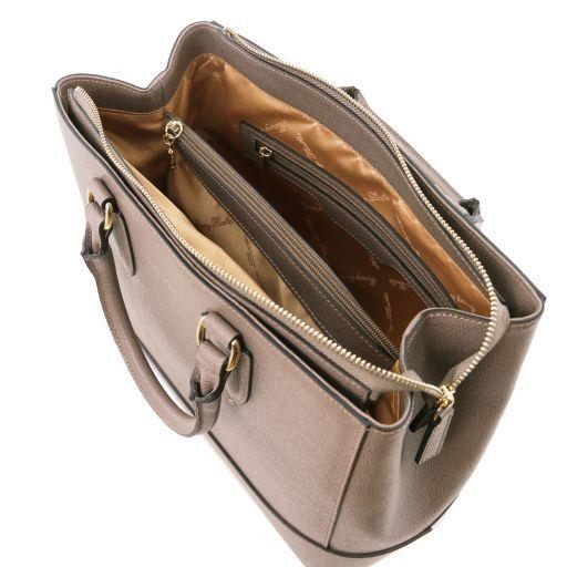 TL Bag Borsa a mano in pelle Saffiano Talpa scuro TL141638