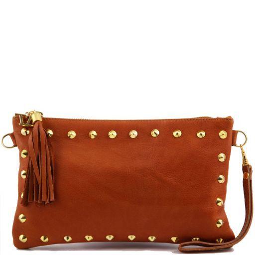 TL Rockbag Studded leather clutch Cognac TL141114