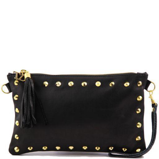 TL Rockbag Pochette in pelle con borchie Nero TL141114