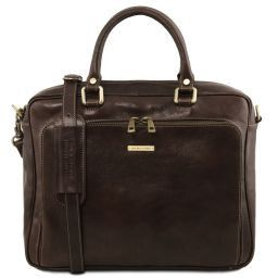 Pisa Leather laptop briefcase with front pocket Dark Brown TL141660