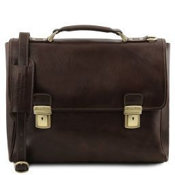 Trieste Exclusive leather laptop case with 2 compartments Темно-коричневый TL141662