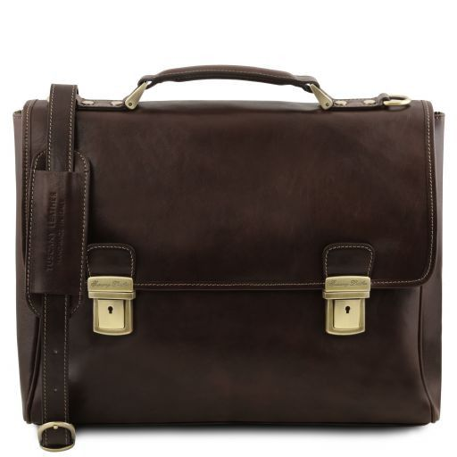 Trieste Exclusive leather laptop case with 2 compartments Dark Brown TL141662